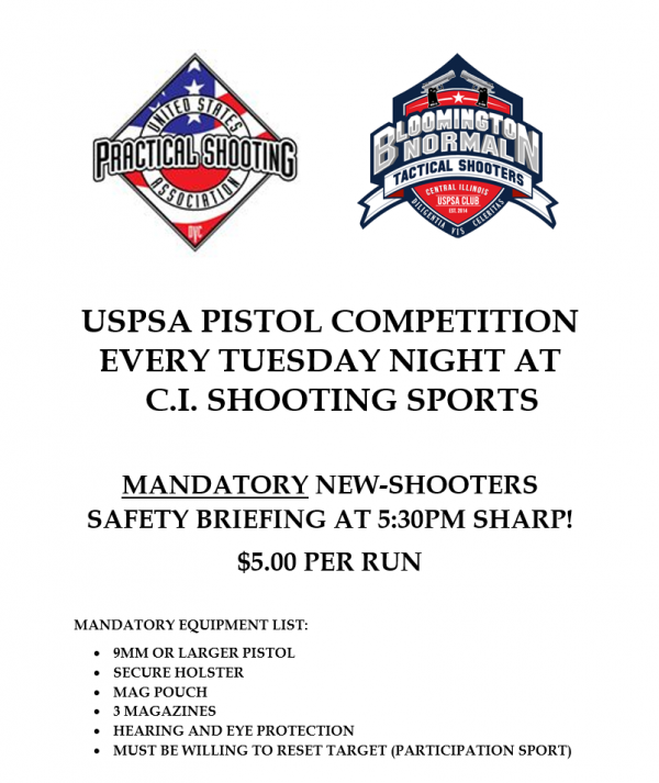 USPSA Pistol Competition Every Thursday Night 5:30PM